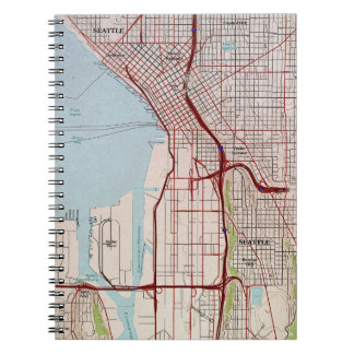 Mapa topográfico de la ciudad de Seattle Libreta Espiral