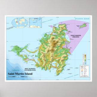 Mapa topográfico de la isla caribeña de San Martín Póster