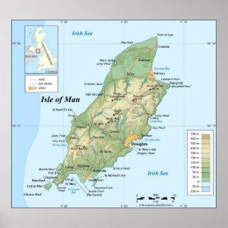 Mapa topográfico de la isla del hombre póster