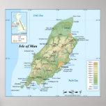 Mapa topográfico de la isla del hombre posters