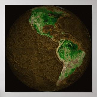 Mapa topográfico de la tierra póster