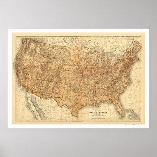 Mapa topográfico de los E.E.U.U. - 1883 Poster