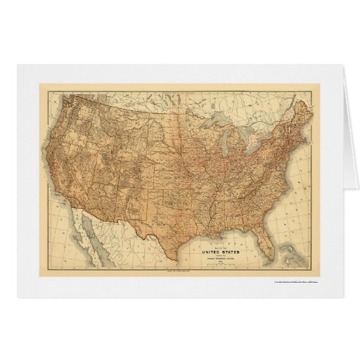 Mapa topográfico de los E.E.U.U. - 1883 Tarjeta De Felicitación