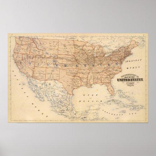 Mapa topográfico de los Estados Unidos Impresiones