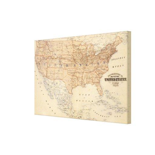 Mapa topográfico de los Estados Unidos Impresiones De Lienzo