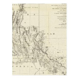 Mapa topográfico de Nevada y de Arizona Tarjetas Postales