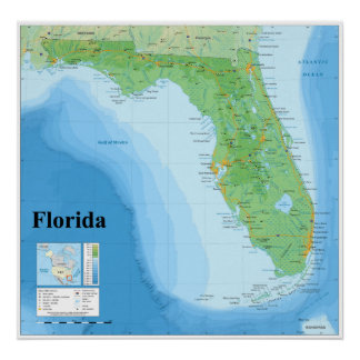 Mapa topográfico del estado de la Florida american Póster