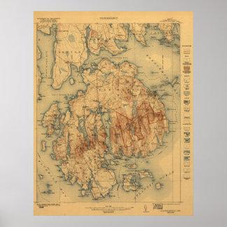 Mapa topográfico del parque nacional 1922 del Acad Póster