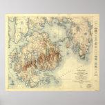 Mapa topográfico del parque nacional 1931 del Acad Poster