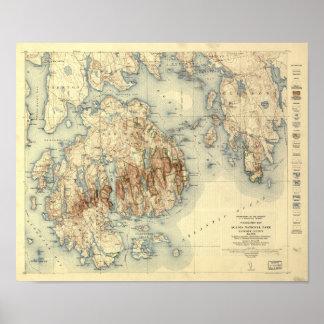 Mapa topográfico del parque nacional 1931 del póster
