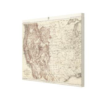 Mapa topográfico del río Misisipi Impresiones En Lienzo Estiradas