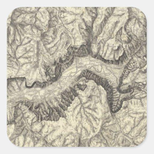 Mapa topográfico del valle de Yosemite Pegatina Cuadradas Personalizada
