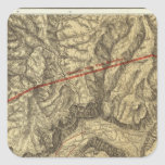 Mapa topográfico del valle de Yosemite Calcomania Cuadradas