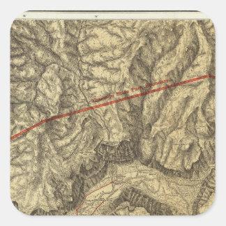 Mapa topográfico del valle de Yosemite Pegatina Cuadrada