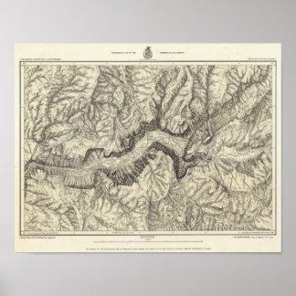 Mapa topográfico del valle de Yosemite Poster
