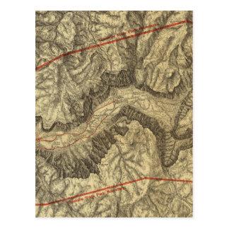 Mapa topográfico del valle de Yosemite Tarjetas Postales