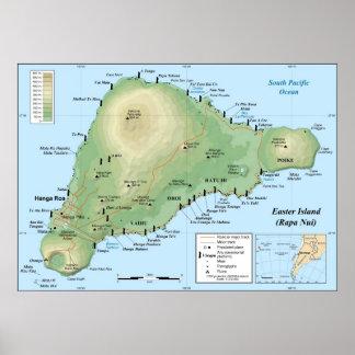 Mapa topográfico detallado de la isla de pascua póster