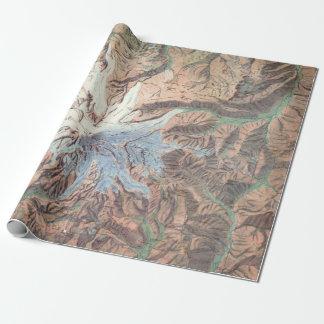 Mapa topográfico Washington del Monte Rainier del Papel De Regalo