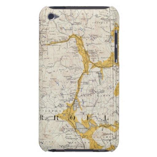 Mapa topográfico y glacial de New Hampshire 2 iPod Touch Case-Mate Coberturas