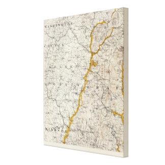 Mapa topográfico y glacial de New Hampshire 2 Lienzo Envuelto Para Galerías
