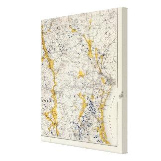 Mapa topográfico y glacial de New Hampshire 2 Impresiones En Lona