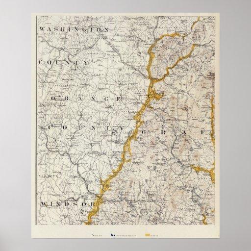 Mapa topográfico y glacial de New Hampshire 2 Póster