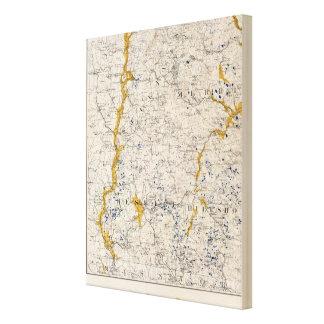 Mapa topográfico y glacial de New Hampshire 3 Impresiones En Lienzo Estiradas
