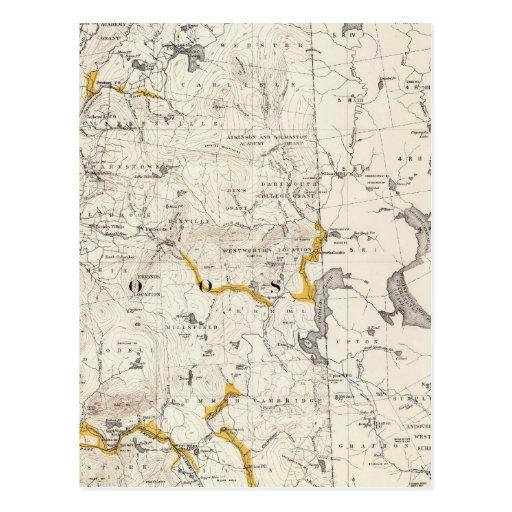 Mapa topográfico y glacial de New Hampshire 3 Tarjetas Postales