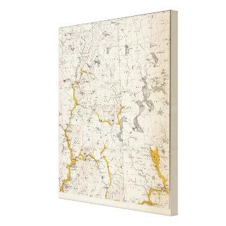 Mapa topográfico y glacial de New Hampshire Impresiones En Lona