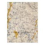 Mapa topográfico y glacial de New Hampshire Postales