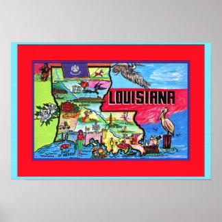 Mapa turístico de Luisiana Poster