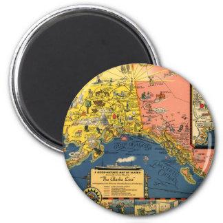 Mapa turístico del vintage de Alaska Imán Redondo 5 Cm