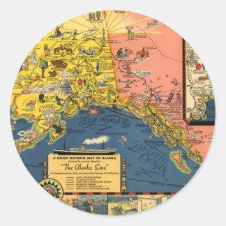 Mapa turístico del vintage de Alaska Pegatina Redonda