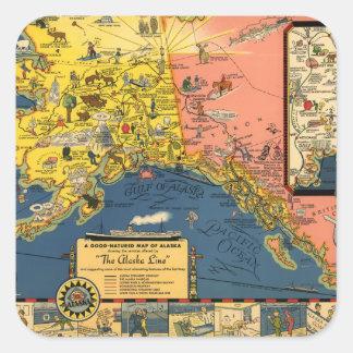 Mapa turístico del vintage de Alaska Pegatina Cuadrada