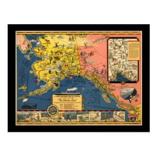 Mapa turístico del vintage de Alaska Tarjetas Postales