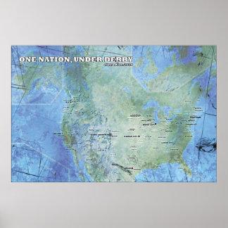 Mapa - una nación, debajo de Derby Impresiones