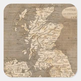 Mapa unido de los reinos por Arrowsmith Pegatina Cuadrada