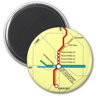Mapa útil del subterráneo de Atlanta Imán Redondo 5 Cm