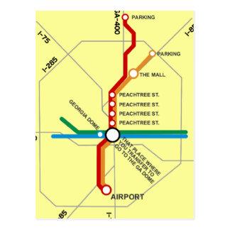 Mapa útil del subterráneo de Atlanta Tarjetas Postales