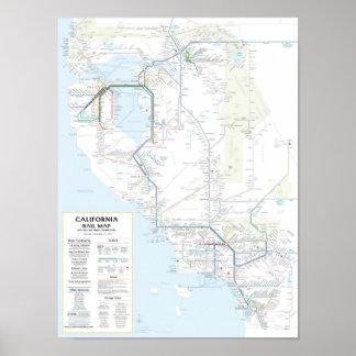 Mapa v1 01 del carril de California Posters