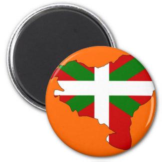 Mapa vasco de la bandera imán redondo 5 cm