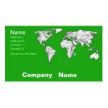 Mapa verde claro tarjetas de visita