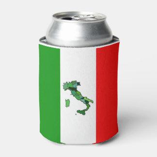 Mapa verde de Italia y de la bandera italiana Enfriador De Latas