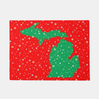 Mapa verde y rojo festivo de los copos de nieve de felpudo