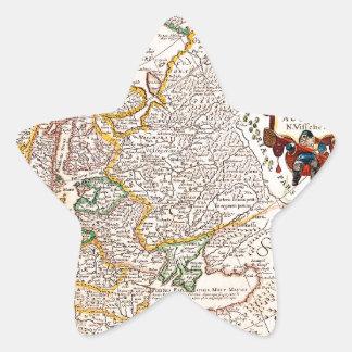 Mapa viejo 0003 pegatina en forma de estrella