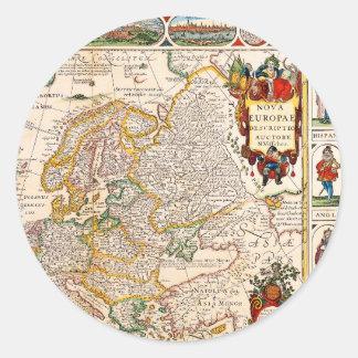 Mapa viejo 0003 pegatina redonda