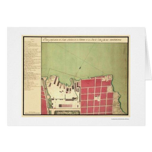 Mapa viejo 1720 de la ciudad de La Habana Cuba Tarjeta De Felicitación
