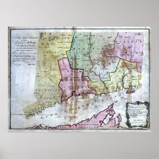 Mapa viejo 1766 de Connecticut Posters