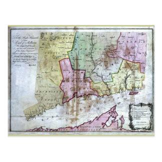 Mapa viejo 1766 de Connecticut Postal