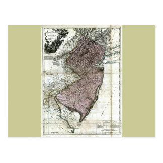 Mapa viejo 1777 de New Jersey Postal